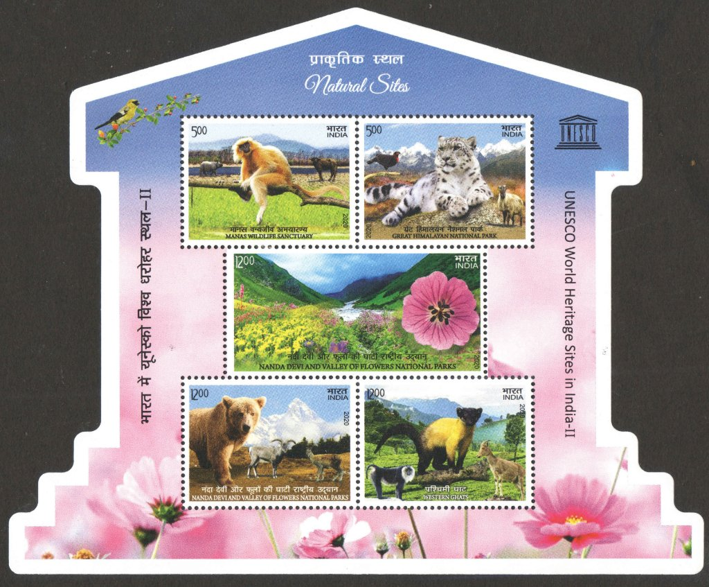 India Miniature Sheet issued in 2020 to commemorate UNESCO heritage sites, Natural sites.