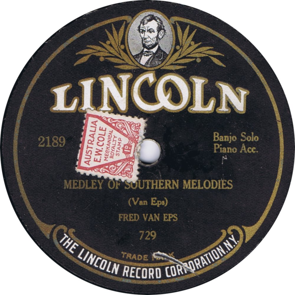 Coles 1d copyright stamp on US Lincoln 78rpm