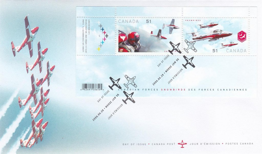 Canada 2006 F.D.C. Canadian Forces Snowbirds Aerobatics team. Miniature Sheet Cover.