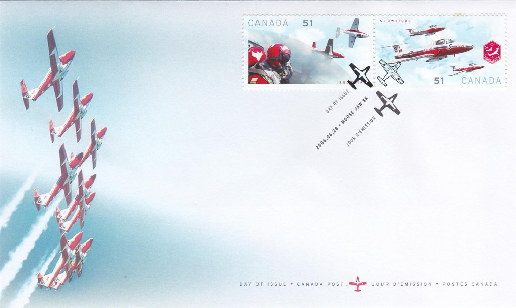 Canada 2006 F.D.C. Canadian Forces Snowbirds Aerobatics team. Single Stamps Cover.