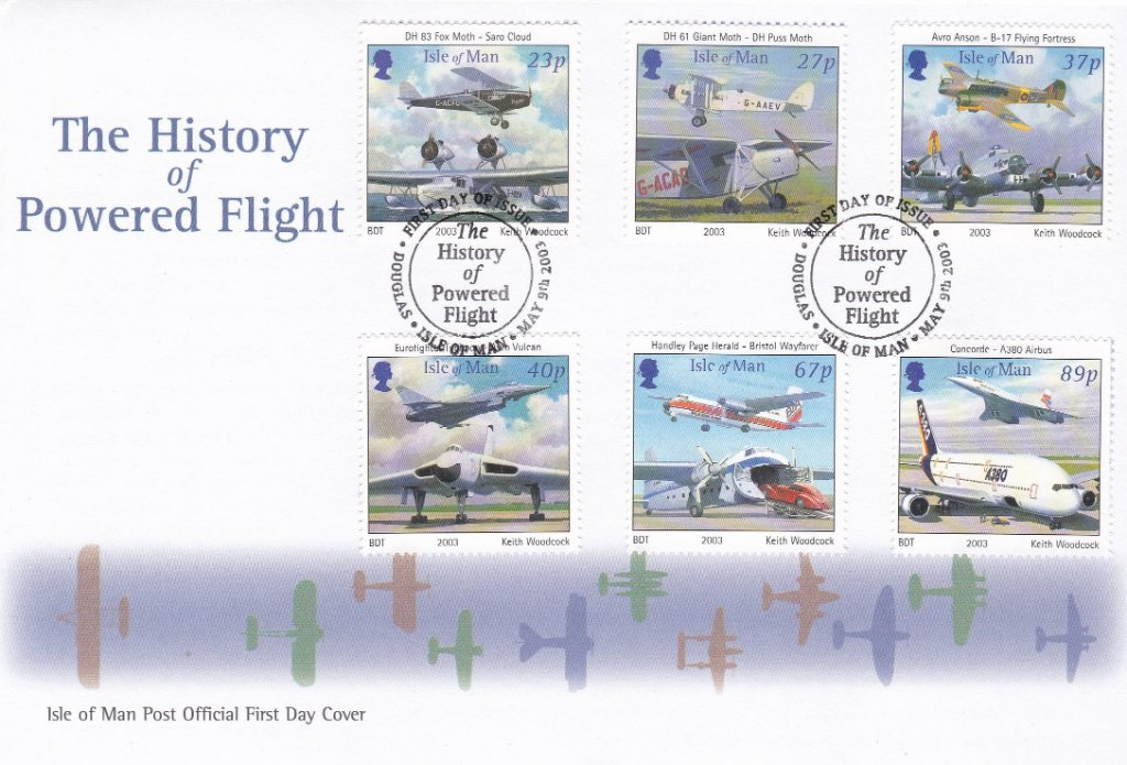 Isle Of Man2003 F.D.C. The History of Powered Flight.