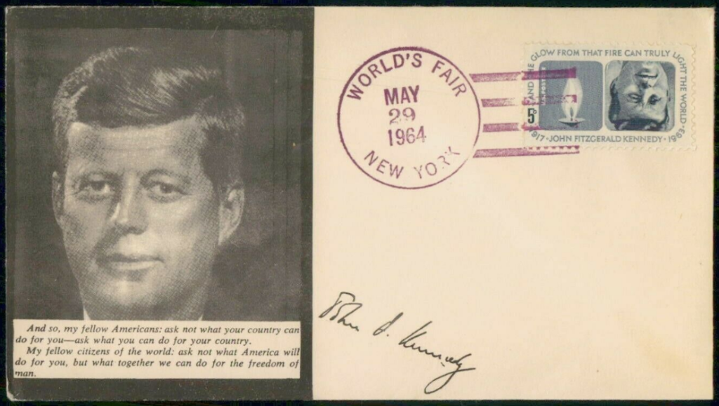 JFK FDC 1964 - Worlds Fair Snip 2A.png