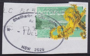 Shellharbour City Centre oval shaped postmark on piece. c2005.