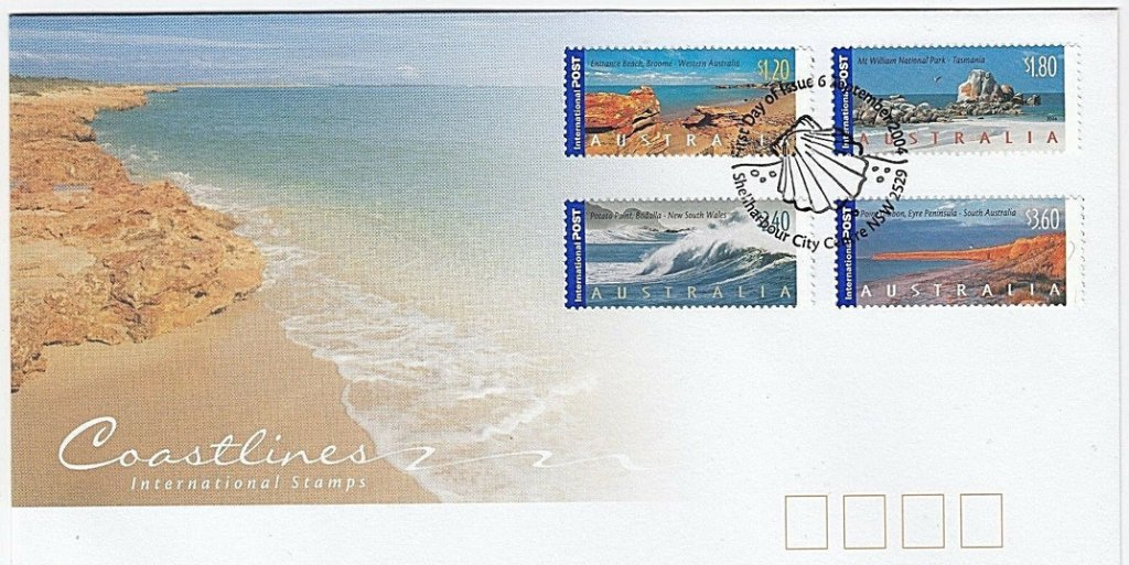 Coastlines FDC. Shellharbour City Centre pictorial postmark. 2004.