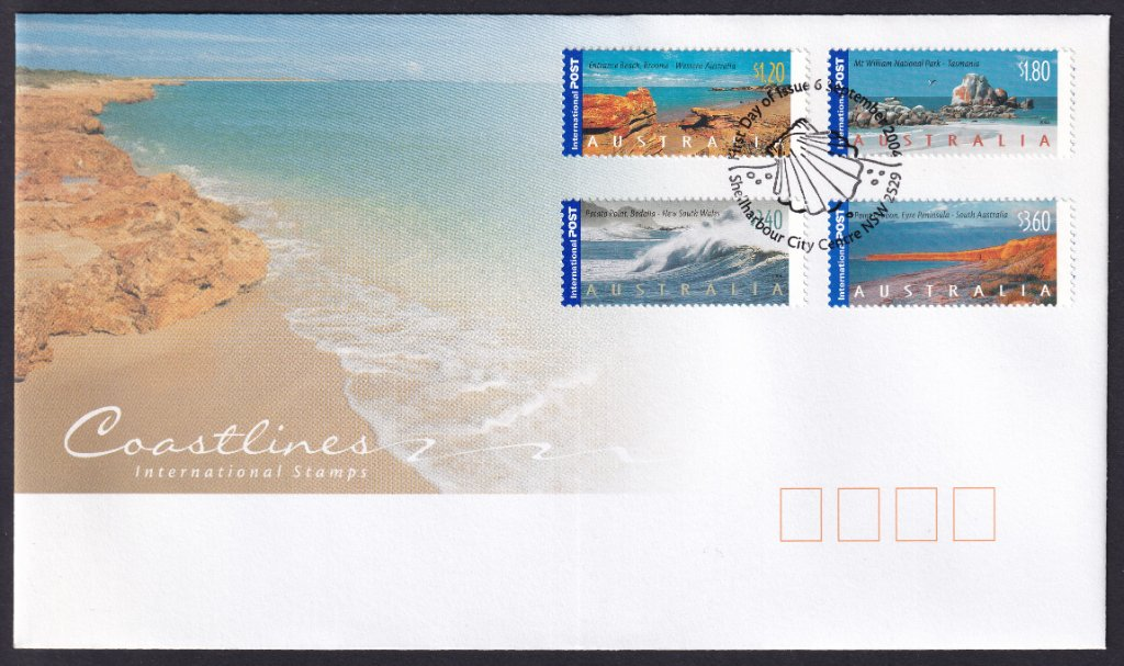 Australia Post fdc for Australia Coastlines International stamps postmarked Shellharbour City Centre pictorial shell postmark on fdi - 6th September 2004 (APM #36540)