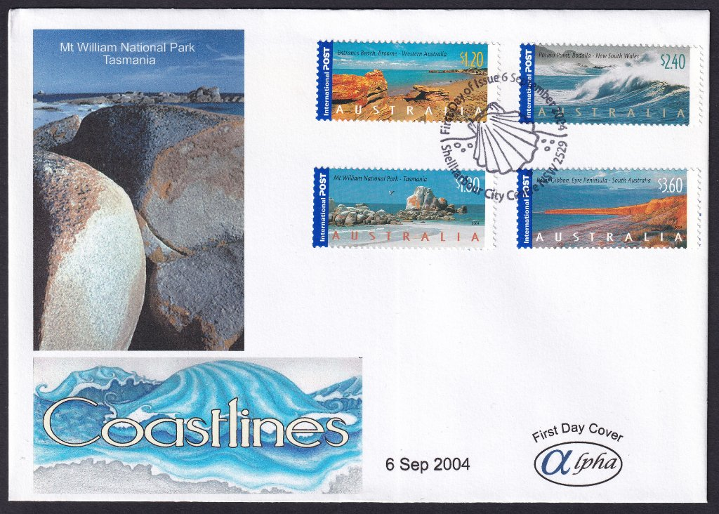 Alpha cachet fdc (by Havilah Enterprises) for Australia Coastlines International stamps postmarked Shellharbour City Centre pictorial shell postmark on fdi - 6th September 2004 (APM #36540)