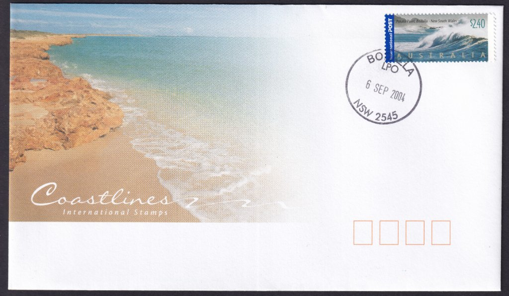 Australia Post fdc for Australia Coastlines International stamps, Potato Point Bodalla $2.40 stamp postmarked Bodalla LPO cds on fdi - 6th September 2004 (APM #36540)