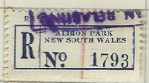 Albion Park NSW registration label.