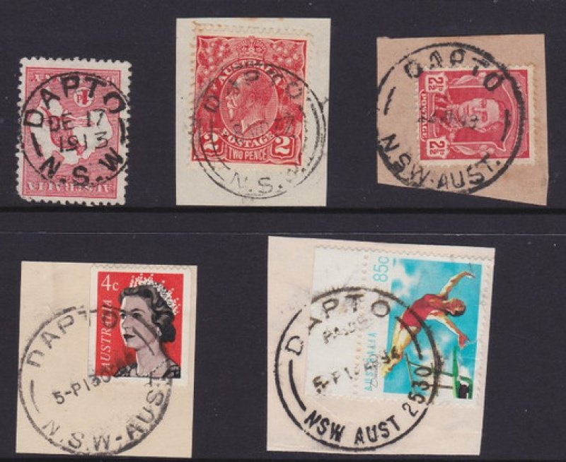 Five different Dapto postmarks.
