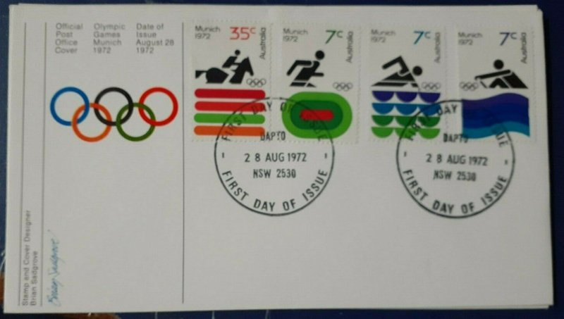 1972 Olympic Games FDC. Dapto FDI cancellation.
