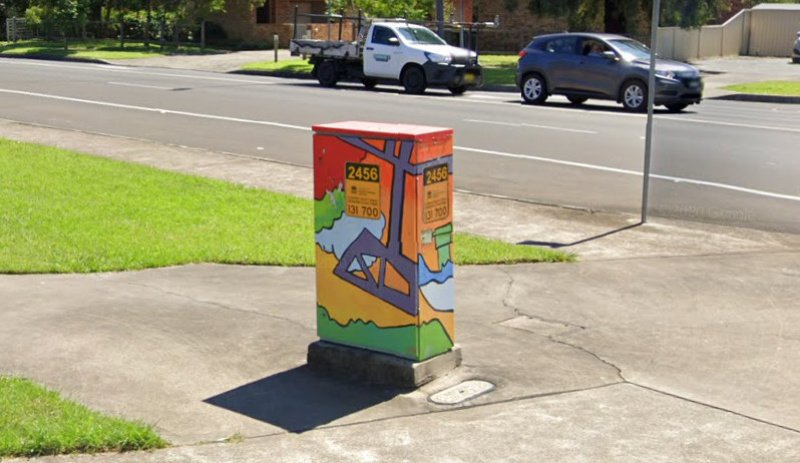 Colourful Traffic Lights Power Box. Unanderra NSW.