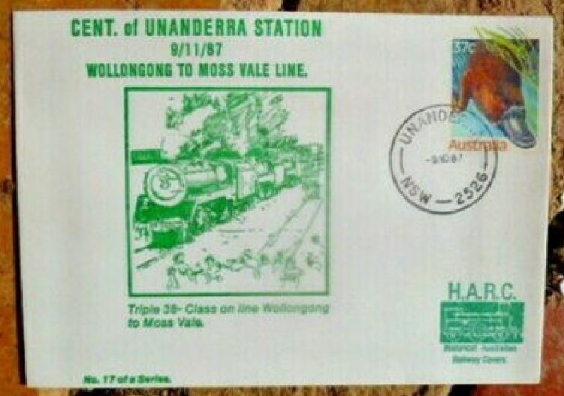 Centenary of Unanderra Station. Commemorative cover. 1987.
