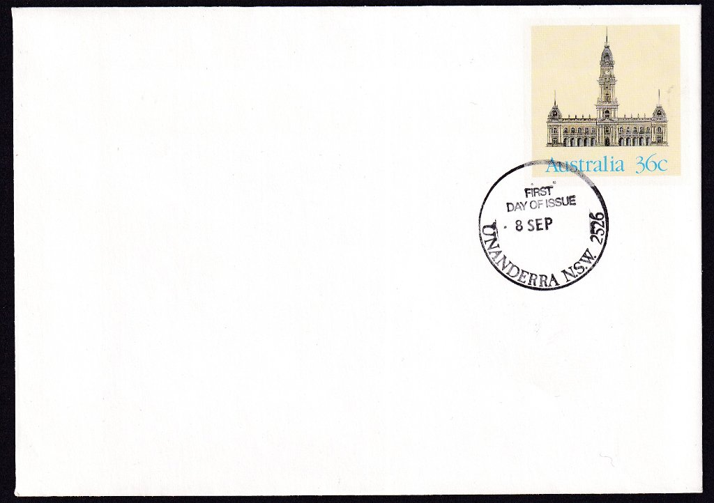 Collingwood Town Hall Melbourne, Historic Buildings pse, cancelled Unanderra fdi postmark  - 8th September(1986) - missing year from dateline