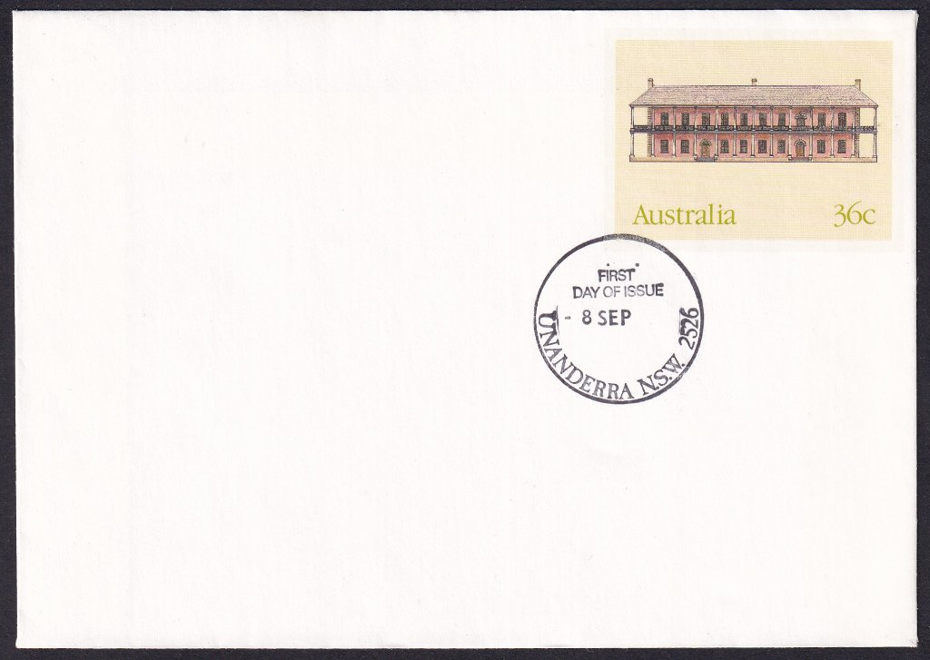 The Mint Sydney, Historic Buildings pse, cancelled Unanderra fdi postmark  - 8th September(1986) - missing year from dateline