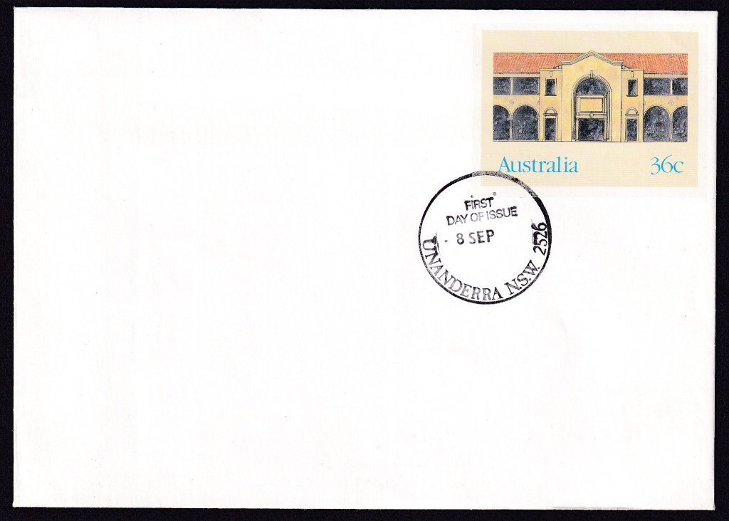 Melbourne Building Canberra, Historic Buildings pse, cancelled Unanderra fdi postmark  - 8th September(1986) - missing year from dateline