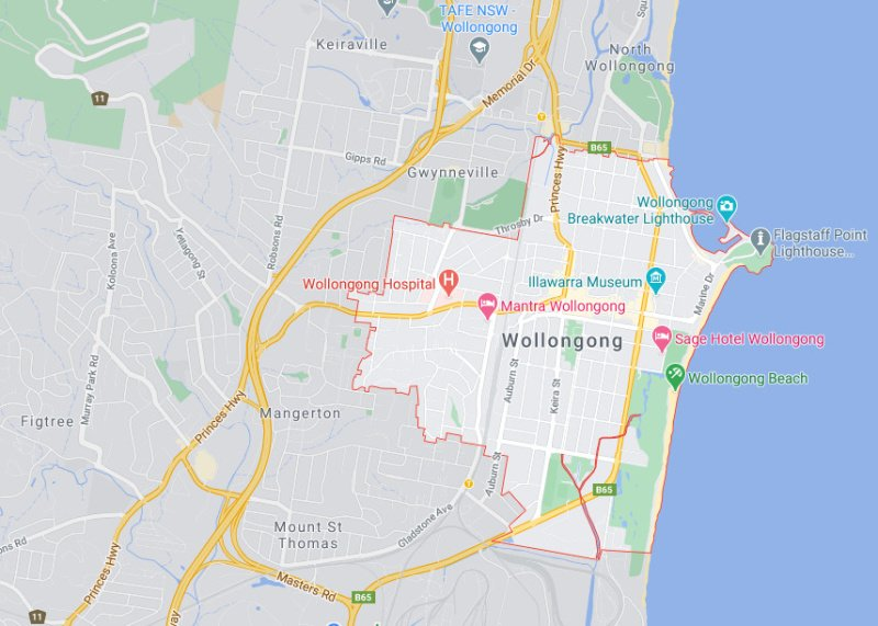 Google street map of Wollongong NSW.