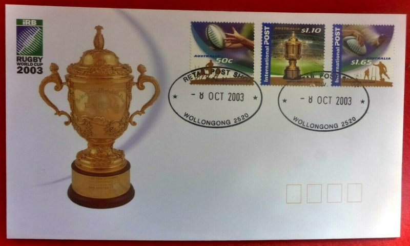 2003 Rugby FDC. Retail Post Shop Wollongong cancellation.