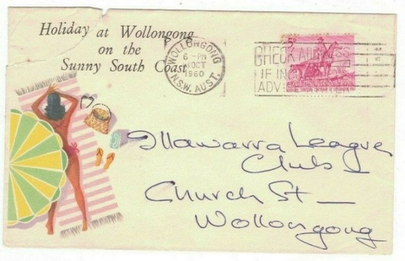Pictorial cover. Wollongong machine cancel. 1960.