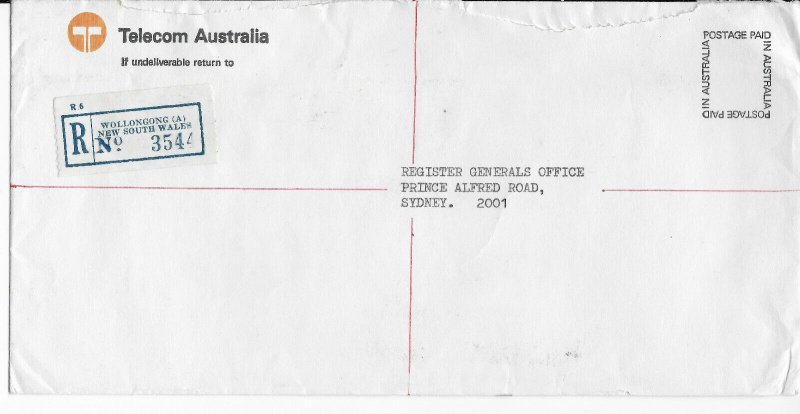 Registered cover sent from Wollongong. Pre 1975.