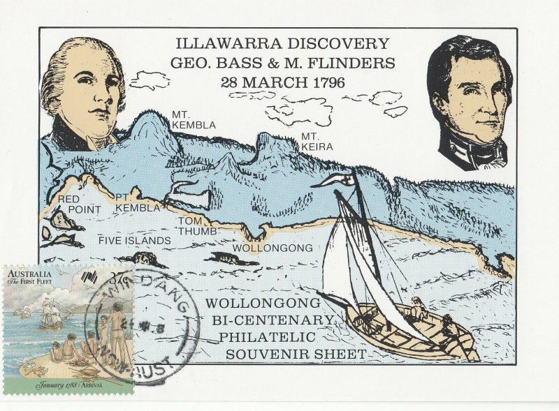 Wollongong Bi-centenary Philatelic Souvenir Sheet. Windang 1988.