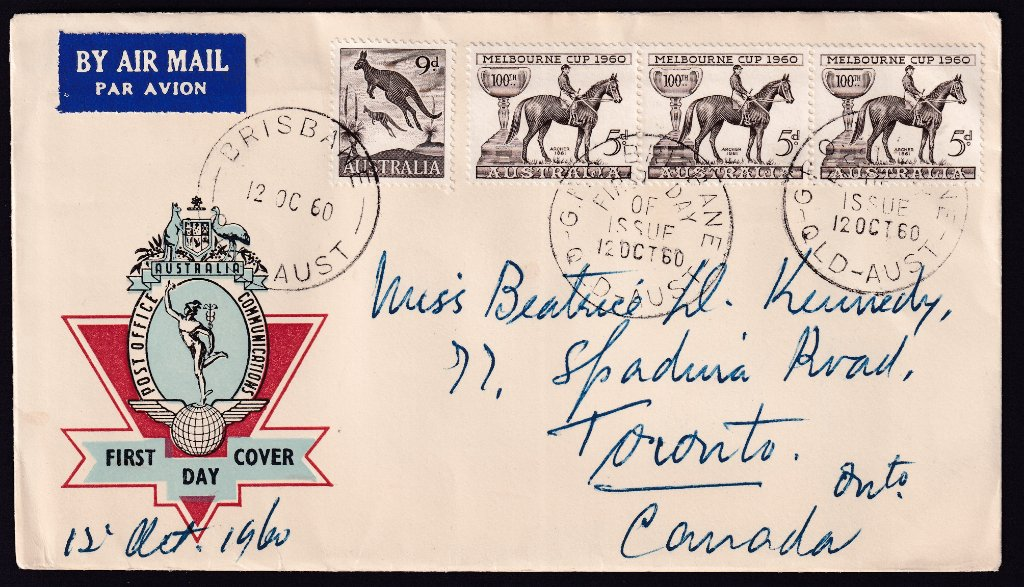 Australia Post Hermes fdc with 1960 Melbourne Cup stamp x 3 postmarked with GPO Brisbane fdi & 9d Kangaroo postmarked with Brisbane cds - 12th October 1960 to Toronto Canada.