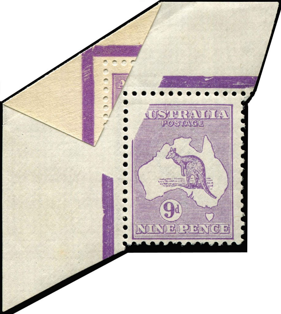 Lot 194 - 9d Violet Die IIB Partly printed on gum corner single