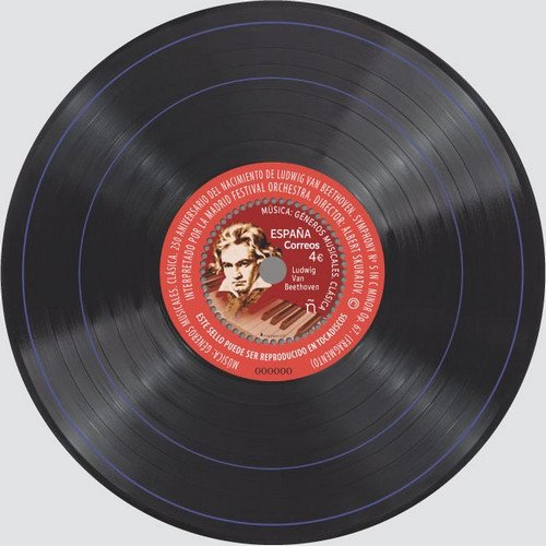 Stamp from Spain Ludwig van Beethoven Playable Vinyl Record 2020