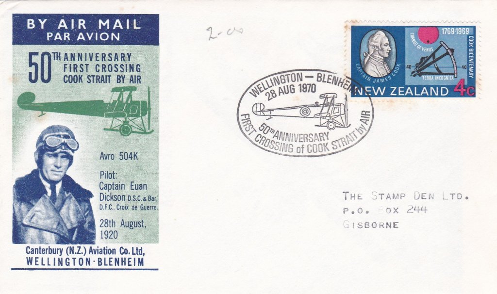 New Zealand 1970 Cover celebrating the 50th anniversary of the first crossing of Cook Strait by air 28/8/1920 Postmarked Wellingtom-Blenheim 28/8/1970
