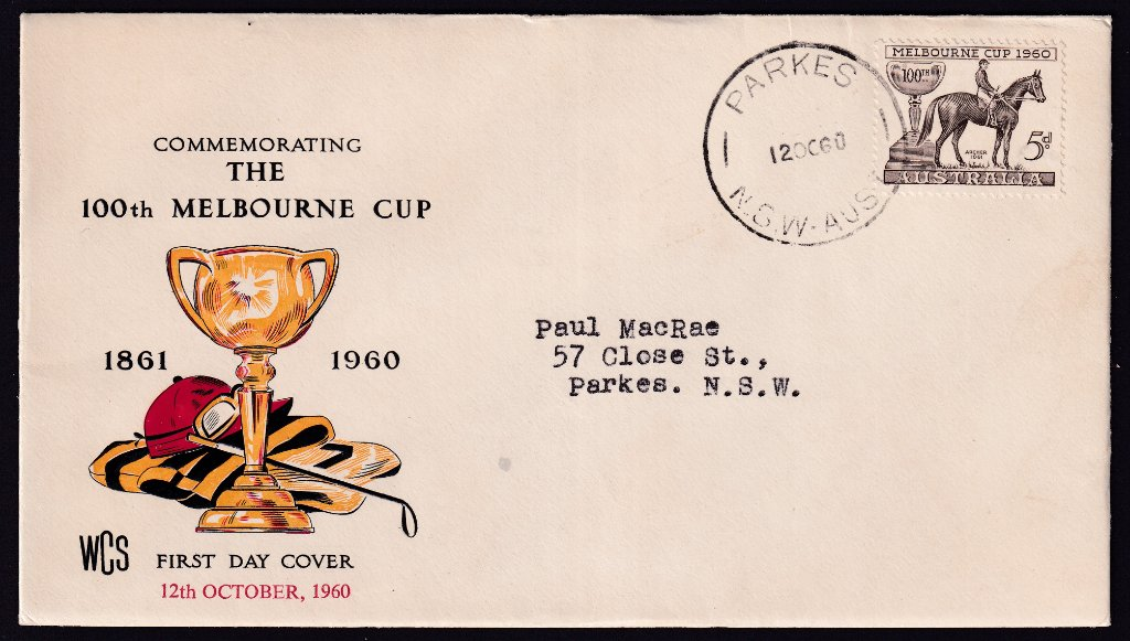 Wesley Cover Service fdc 1960 Melbourne Cup 5d stamp postmarked Parkes NSW cds on fdi - 12th October 1960 to Parkes NSW