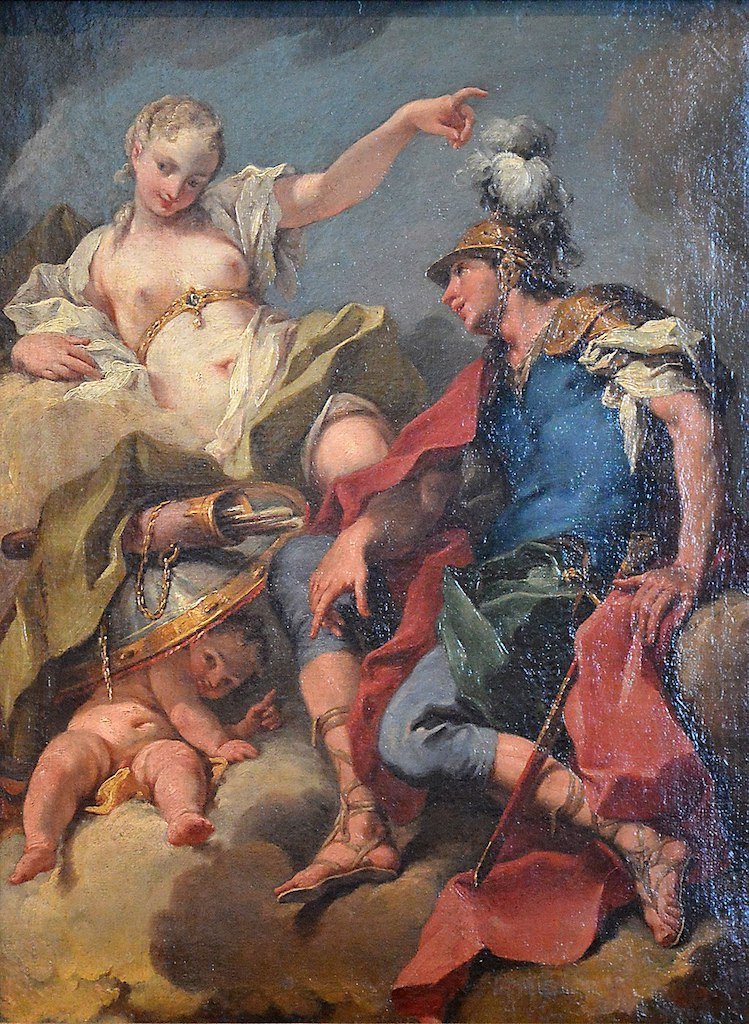.<br />Giambattista [Giovanni Battista] Pittoni (1720)<br />Mars et Vénus — Mars and Venus<br />Oil on canvas, height 62cm.  Louvre Museum