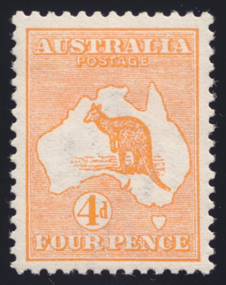 A CLEAR scan of a 4d Kangaroo stamp