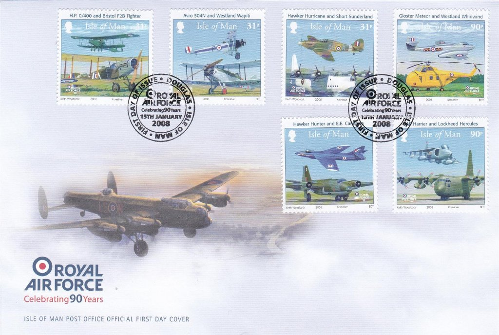 Isle of Man 2008 F.D.C. Foyal Air Force celebrating 90 Years. The R.A.F. was formed in early 1918 by the amalgamation of The Royal Flying Corp and The Royal Naval Air Service.