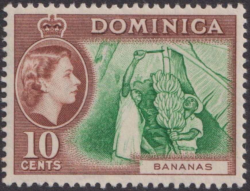 Dominica 10c Bananas 1957 definitive stamp
