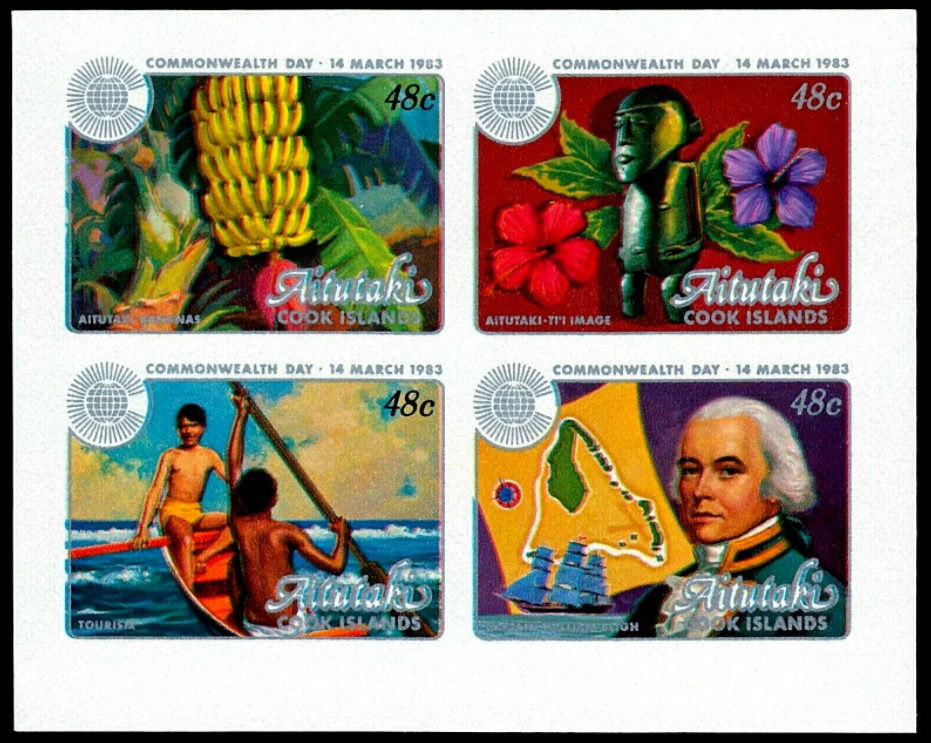 Aitutaki 1983 48c. SG 430-33. Commonwealth Day (canoeing, flowers, banana fruit, idol sculpture, map, ship, Captain Blight). Unissued imperforate set in a block of 4 with changed colors.