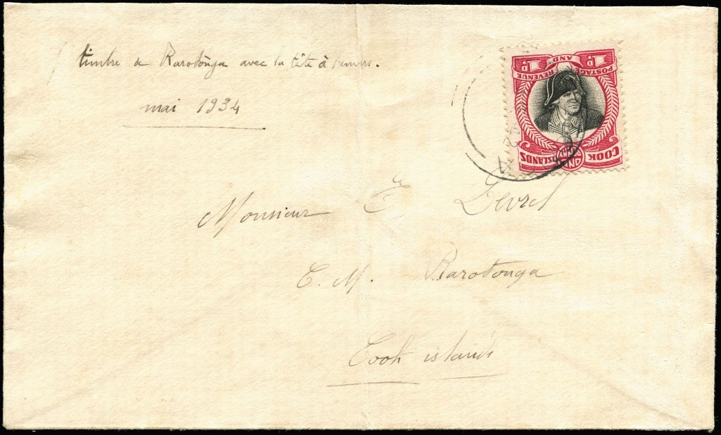 1932 1d Cook with Centre inverted, SG Cook Islands #100a, on 1934 (Jun 5) local Raratonga cover with Inverted Centre.