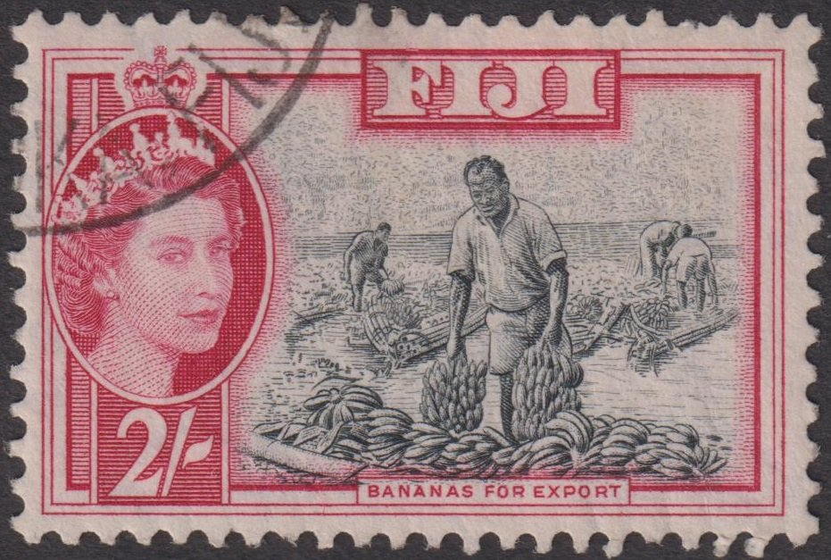 Fiji, QEII definitive stamp, second set: 1956 2 Shilling 'BANANAS FOR EXPORT'