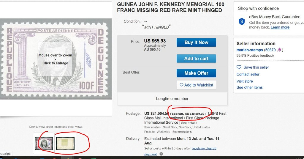 Over $A30,000, for a HINGED John F. Kennedy Stamp!