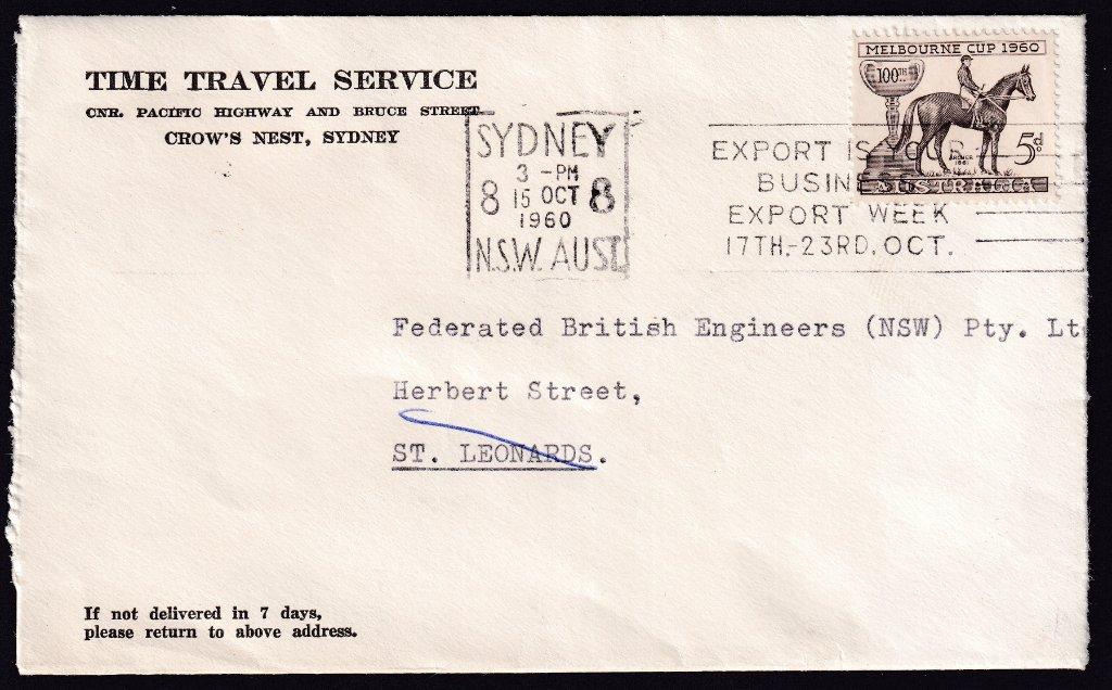 Commercial cover from Time Travel Service with 1960 Melbourne Cup 5d stamp with Sydney 8 Machine Slogan Cancel - 15th October 1960.
