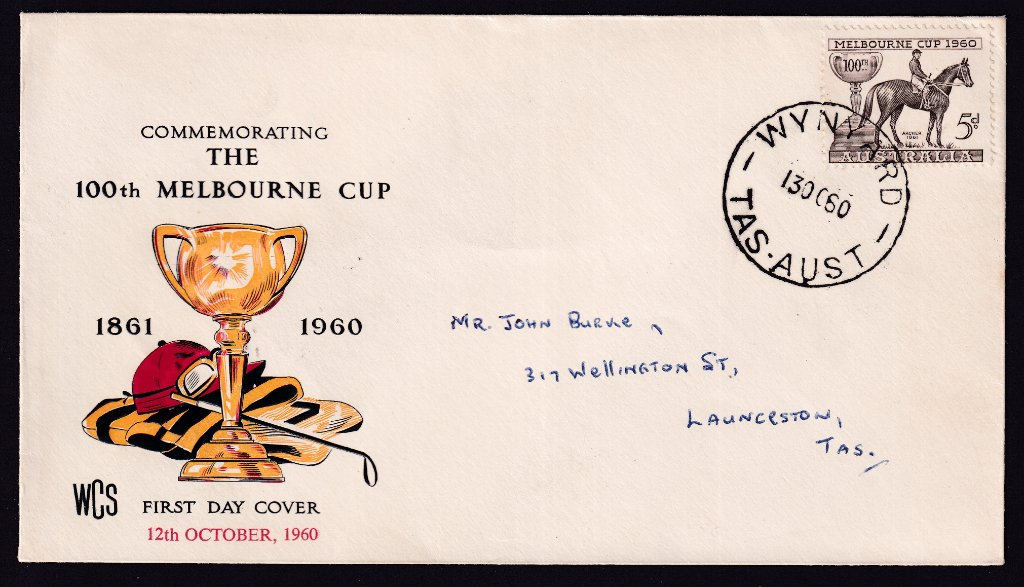 Wesley Cover Service 2dc for Melbourne Cup 5d stamp postmarked Wynyard Tas cds on second day of issue - 13th October 1960.