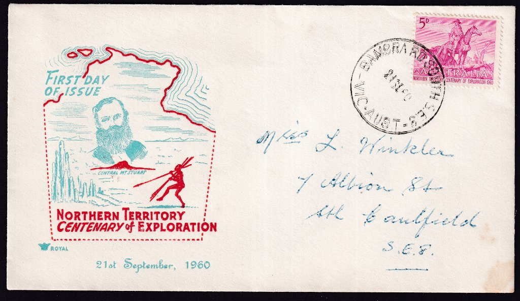 Royal cachet fdc for the Centenary of Northern Territory 5d Stamp postmarked Bambra Road South (Caulfield South) cds on fdi - 21st September 1960.<br /><br />Not the Melbourne Cup but I think I am getting closer.