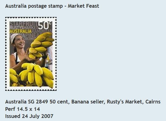 50c Banana seller stamp, Australia, 2007.