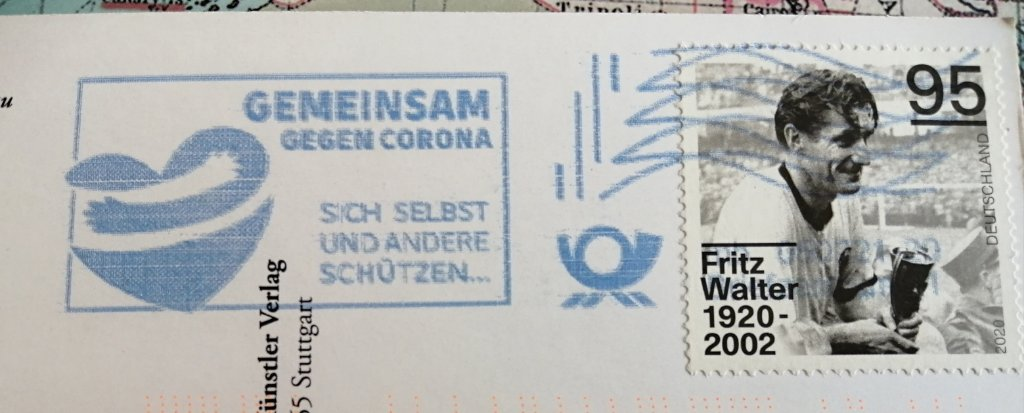 German Coronavirus postmark in blue ink.
