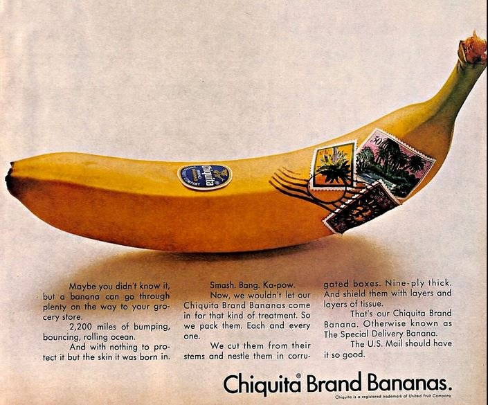 United Fruit Company stamps on banana advertising