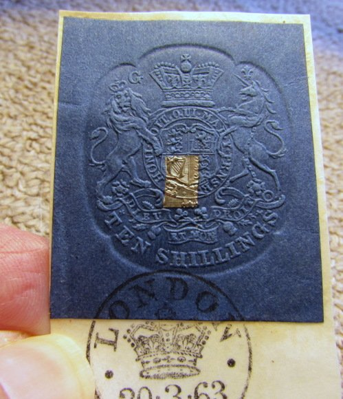 10 shilling embossed revenue stamp