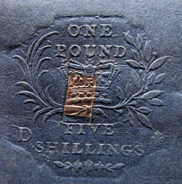One Pound Five Shillings, Die D stamp, oblique light