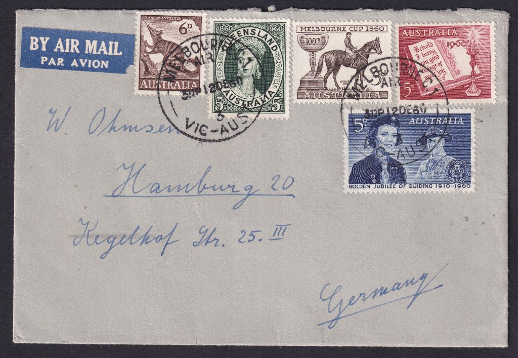 1960 Melbourne Cup 5d stamp cover postmarked Melbourne Air 3 cds - 12th October 1960 to Germany