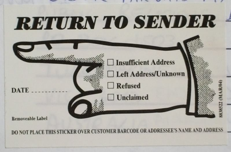 The Return To Sender Label Is On Glossy Paper