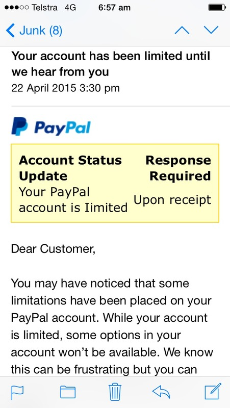 nearly tells me my paypal account has been imitated