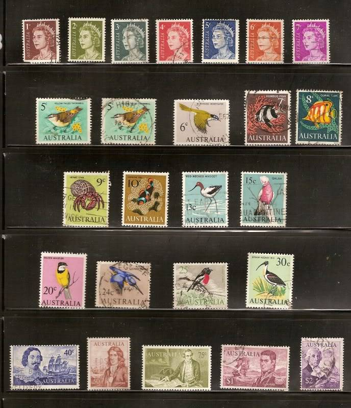 includes full sets of 1966 coil stamps (3 values), 1967 Christmas (25c value is MNH), 1968 State Floral Emblems (6 values) & 1969 Primary Industries (4 ...