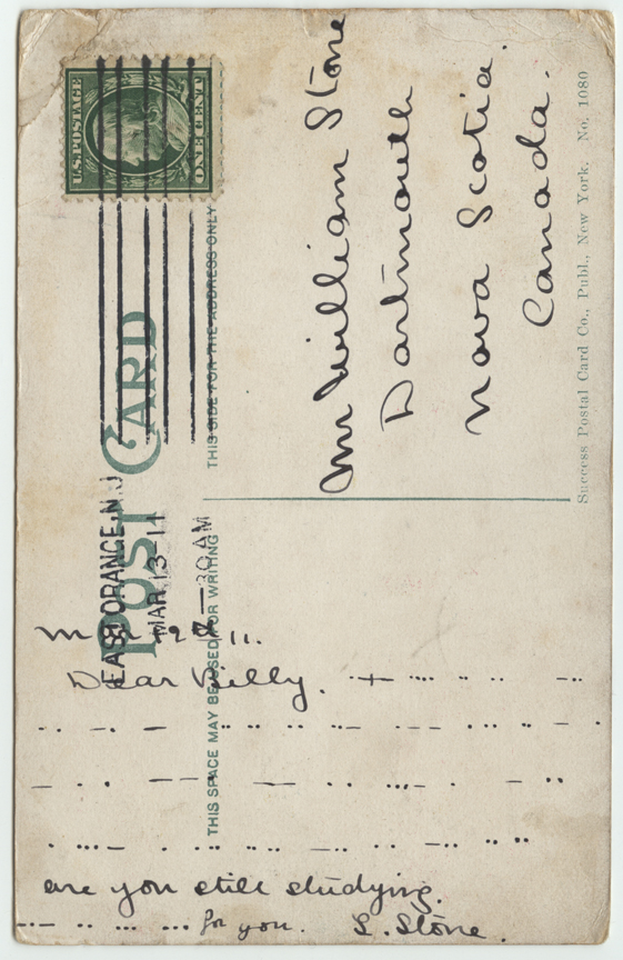 Morse Code Message on Post Card